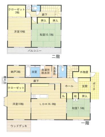 一階メインで過ごせるように造ったお家はリビングを挟んで寝室でも使えるお部屋が2部屋あります。それぞれのお部屋が広々と造られており、車椅子での生活も考慮して一階は引戸のみを採用しています。収納も豊富にあり1世帯で広々使っても良いですし、2世帯住宅でも余裕の間取りです。