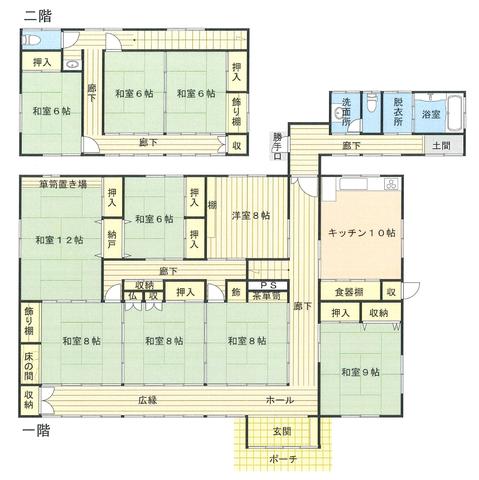 3連の8帖和室を繋げた時の空間からくる解放感が圧巻です。二階の寝室以外はどのお部屋も8帖以上の設定になっており、12帖の和室などは普通に見れないものですよ。これだけのお家を造る事は普通に叶わない方がほとんどかと思いますが、中古住宅ならではの価格でご検討頂けます。