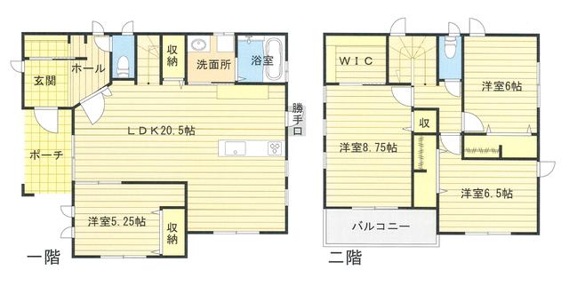 間取は一階に寝室にもなる洋室と広々としたLDK、二階に3部屋とウォークインクローゼットになります。それぞれのお部屋に収納もしっかり十分に用意され使い勝手も良いですね。玄関のシューズクローゼットが別になっていたり大きなポーチに屋根がかかっていたりひと工夫もふた工夫もあります。現地に来れば分かりますが窓もお洒落です。