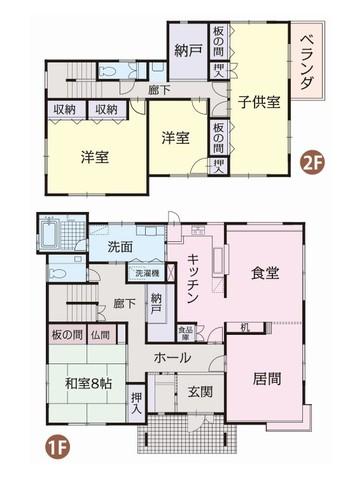 本物件の間取り図です♪ 一階にはリビング・居間と玄関を挟んでの和室8帖、二階には洋室2間と将来2部屋に分けて使用出来る子供部屋が御座います。 部屋数が多い為、二世帯住宅を検討されている方にもおススメの物件です♪