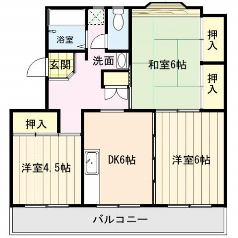 和室が2つと広めのダイニングキッチンです。また収納スペースもあります。