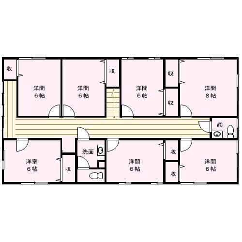 2階には7部屋あります。クロスもお部屋にごとに違ってこだわってますね。