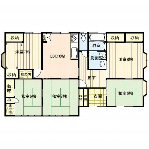 間取り5LDK:和室3部屋、洋室2部屋、リビング10帖です!平屋建てはお年寄りからお子様がいる家庭の方で幅広く反響がある住みやすさを感じる造りです。
